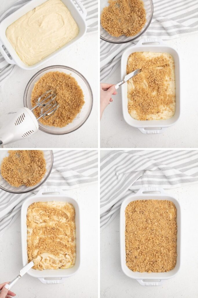 Collage of cinnamon streseul mixture being mixed in and layered on top