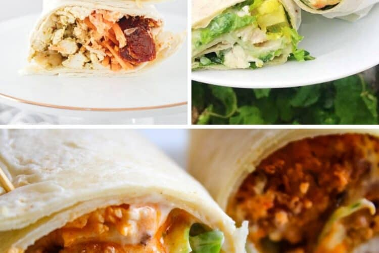Collage of chicken wraps