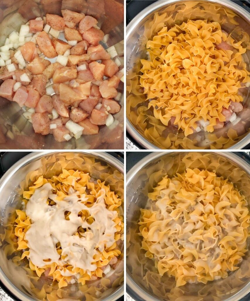 Collage on in-process photos, adding chicken and onion with seasonings, then egg noodles, then cream of mushroom soup, and then after pressure cooking