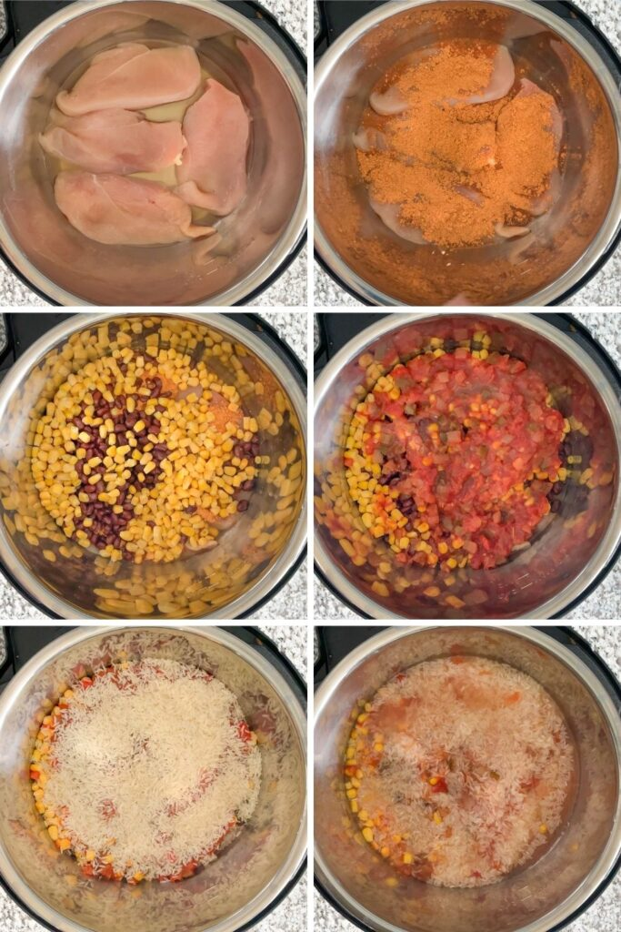Collage of in-process directions of adding each of the ingredients into the Instant Pot