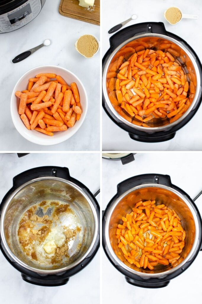 In process collage of carrots in a bowl, in the Instant Pot, with brown sugar sauce, then all mixed together in the Instant Pot