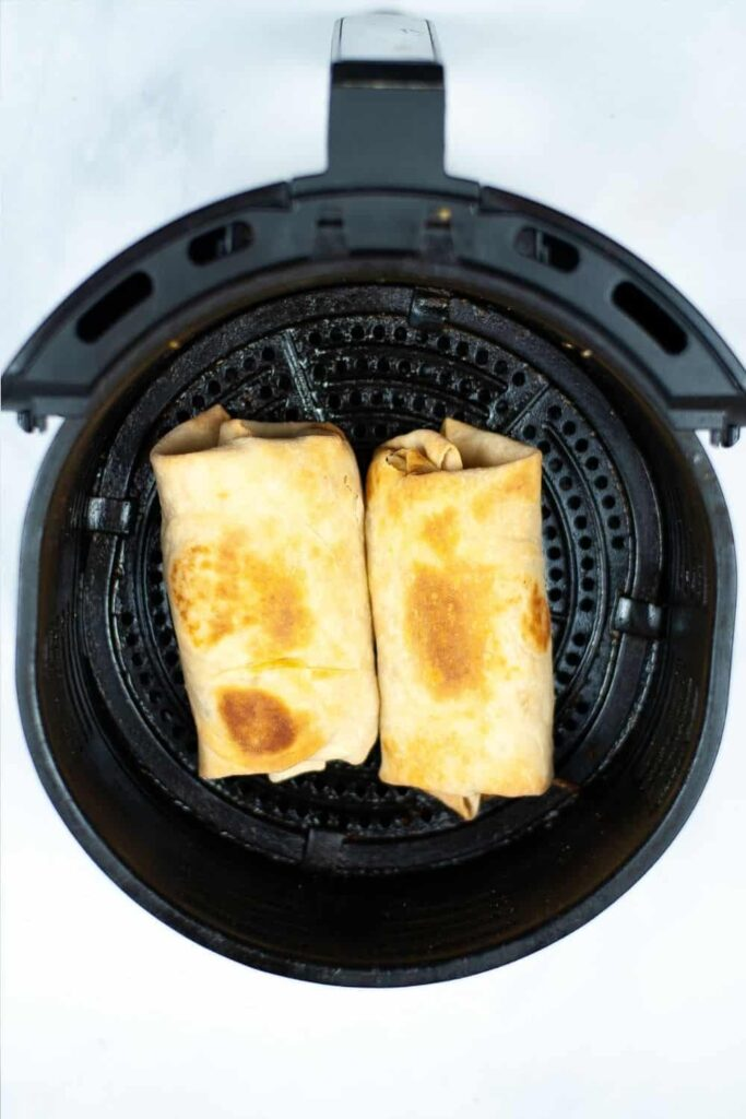 Cooked burrito in the air fryer