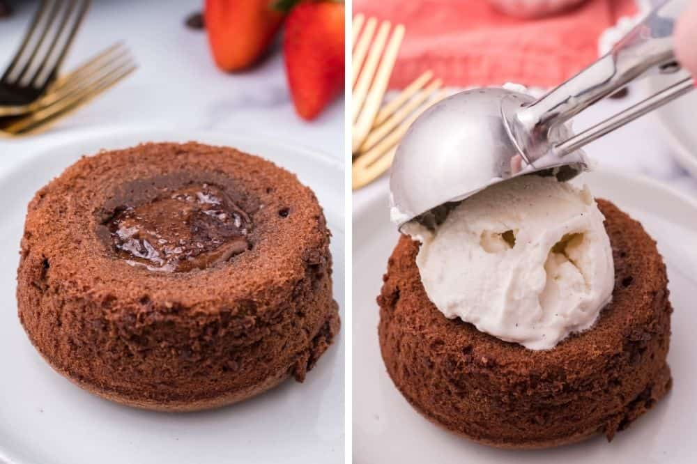 Two side-by-side pictures of lava cake outside of a ramekin and vanilla ice cream being scooped on top
