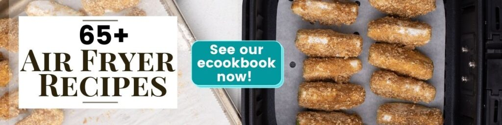 Text: 65+ Air Fryer Recipes. See our ecookbook now! (image of apple wedges in graham cracker crumbs in air fryer)