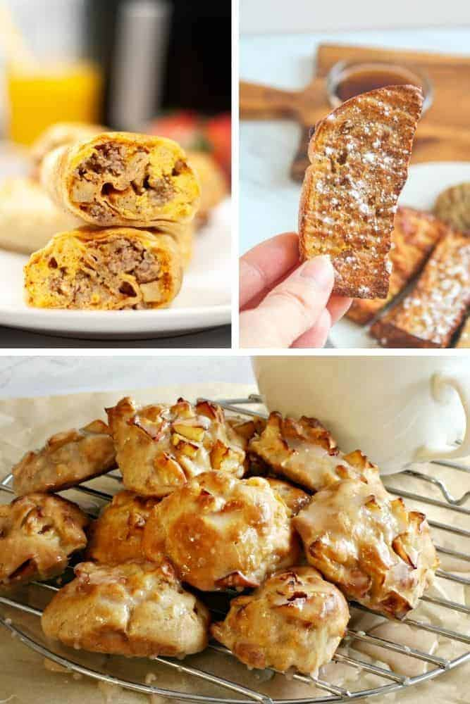 Collage of air fryer breakfast recipes (breakfast burritos on top left, french toast sticks on top right, and apple fritters on bottom)