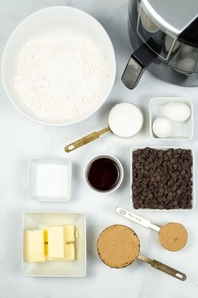 Ingredients for Air Fryer Cookie to make 2 batches of cookies