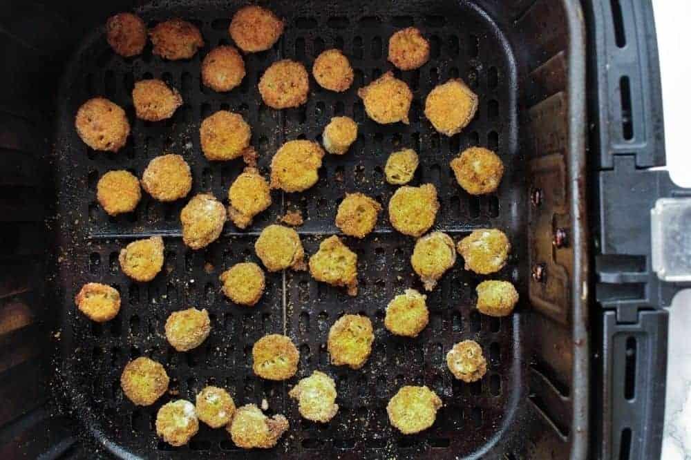 Cooked breaded okra in air fryer