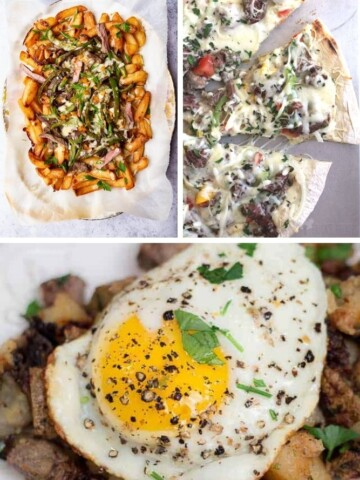 Collage of leftover steak recipes (loaded fries, steak pizza, and hash browns, steak, and eggs