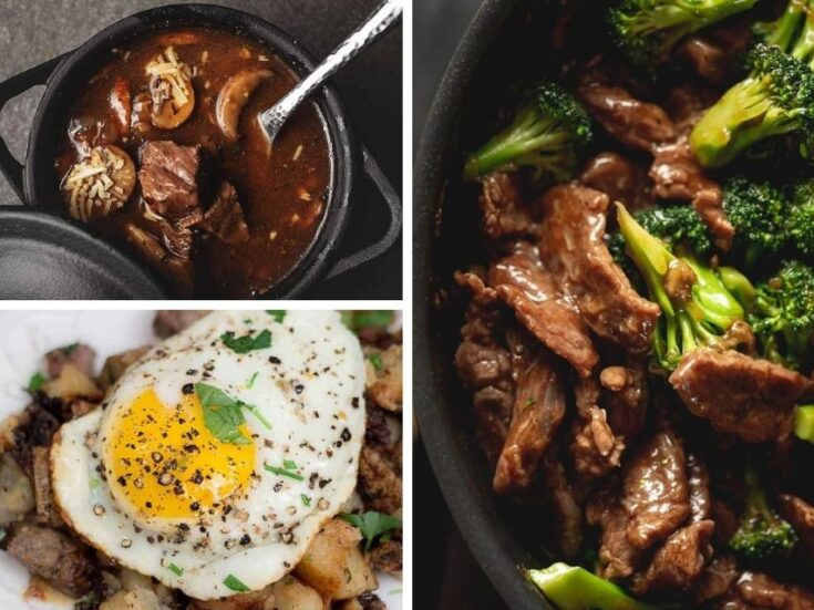 Collage of leftover steak ideas (steak soup, beef and broccoli stir fry, and egg and steak hash)
