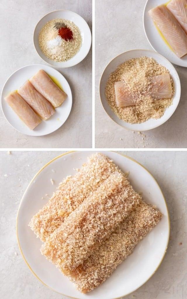 Collage of in-process images (mahi mahi and breading in bowls, mahi mahi being breaded, and raw breaded mahi mahi