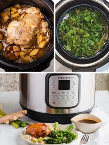 Collage of Instant Pot Air Fryer Lid Recipes (cornish hen, kale chips, and keto chicken)