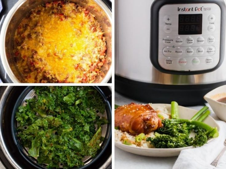Collage of Instant Pot Air Fryer Duo Crisp Lid Recipes (chili frito pie, kale chips, and keto chicken)