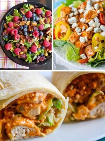Cold Lunch Ideas collage (fruit salad with greens, buffalo blue salad, and buffalo chicken wrap)