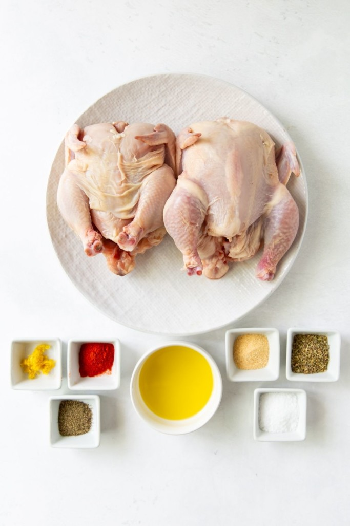 Ingredients needed to make cornish hen in the air fryer on a white background