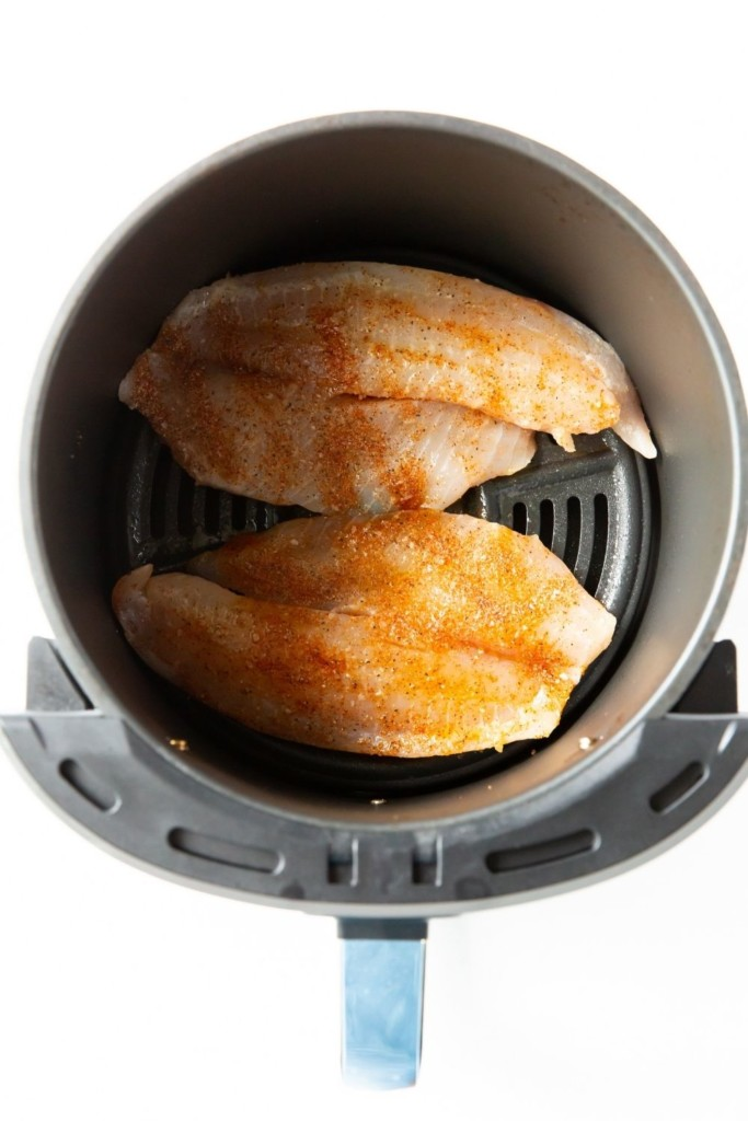 Raw tilapia in air fryer using no breading