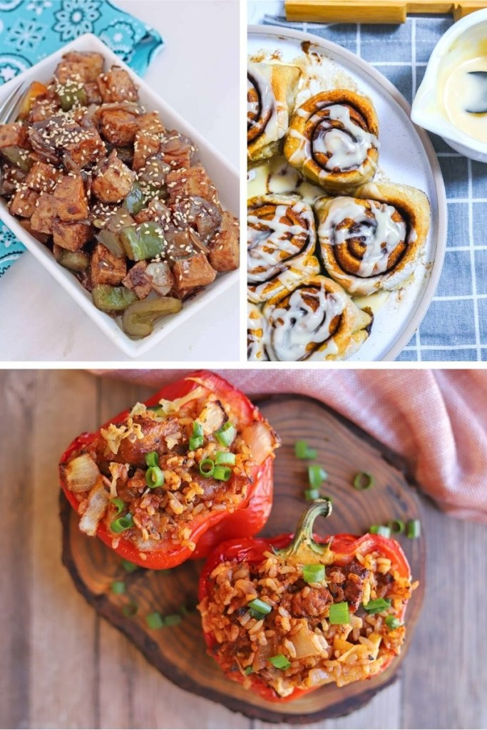 Collage of air fryer vegan recipes (spicy tofu, cinnamon rolls, and stuffed peppers)