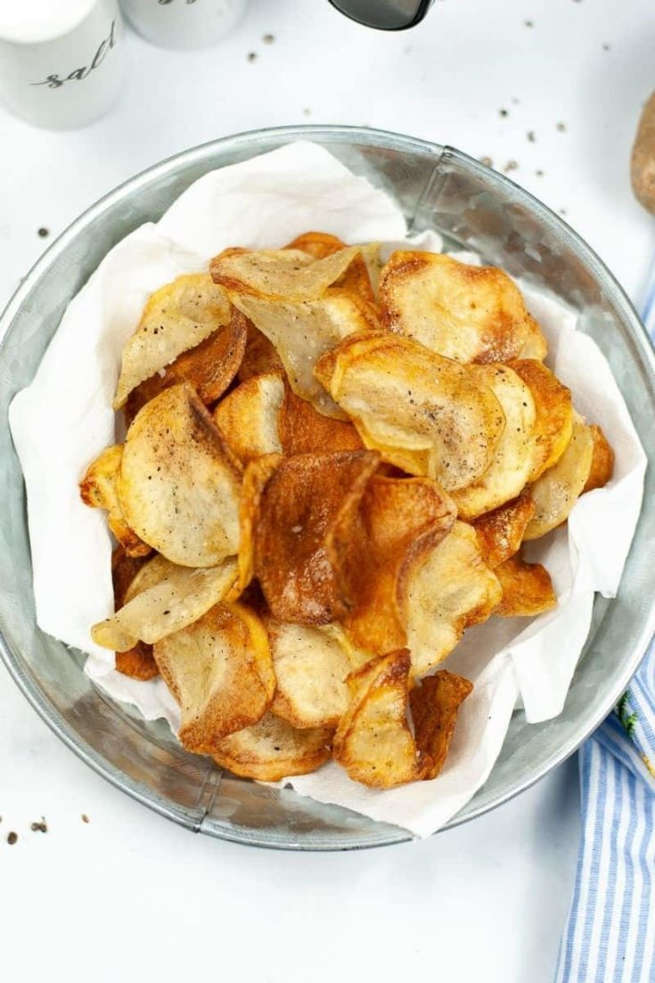Bowl of cooked potato chips