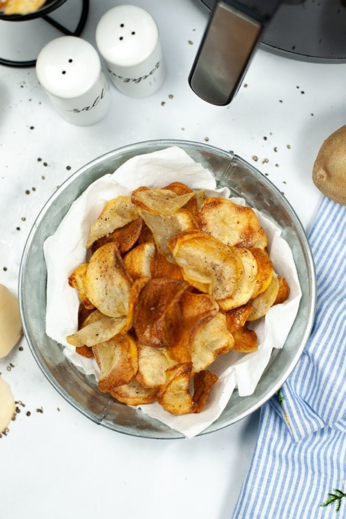 Looking down on Air Fryer Potato Chips in a bowl