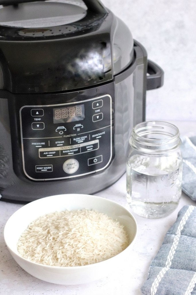 Raw jasmine rice in front of a Ninja Foodi with water