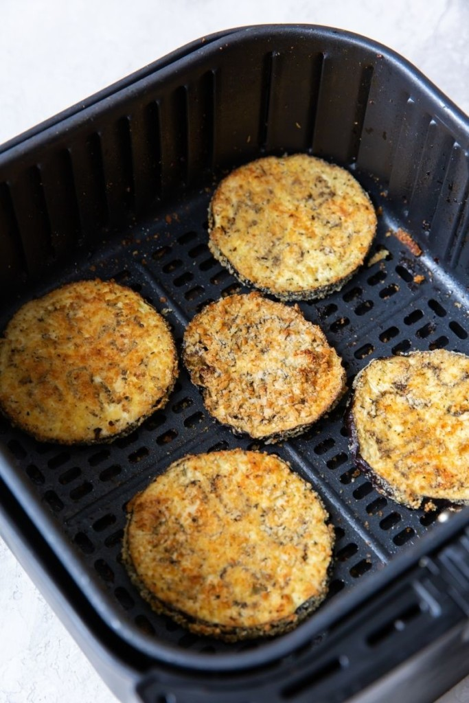 Cooked breaded eggplant in the air fryer