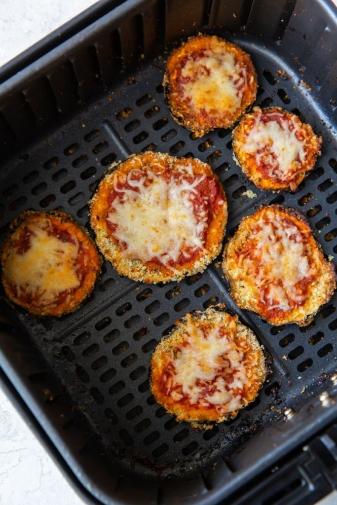 Finished eggplant parm in the air fryer