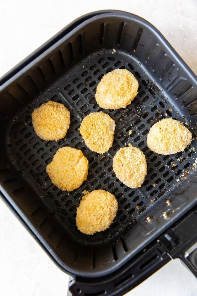 Raw breaded scallops in air fryer