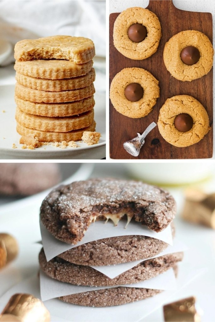 Collage of easy Christmas cookies with few ingredients (brown butter shortbread cookies, peanut butter blossoms, and rolo cookies)