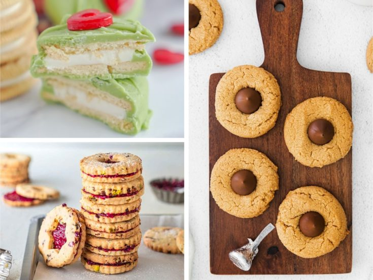 Collage of easy cookies with few ingredients (grinch cookies, cranberry cookies, and peanut butter blossoms)