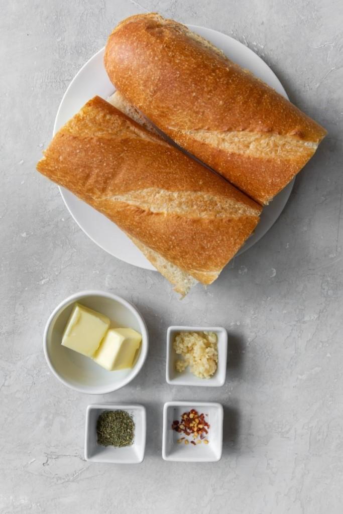 Ingredients needed to make garlic bread in the air fryer