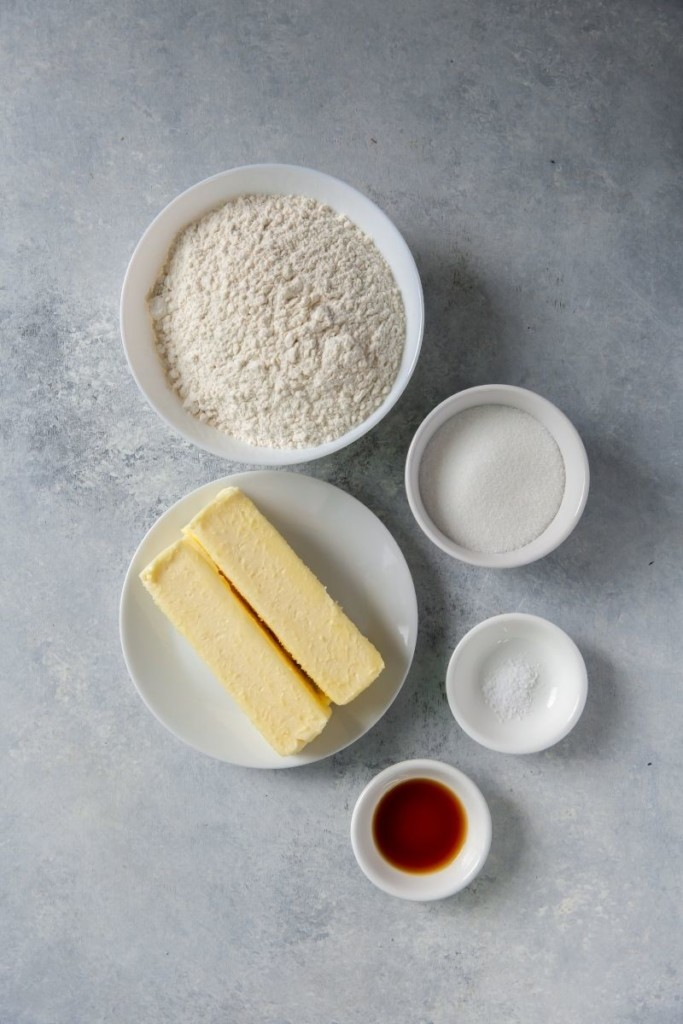 Ingredients needed to make Shortbread cookies with icing