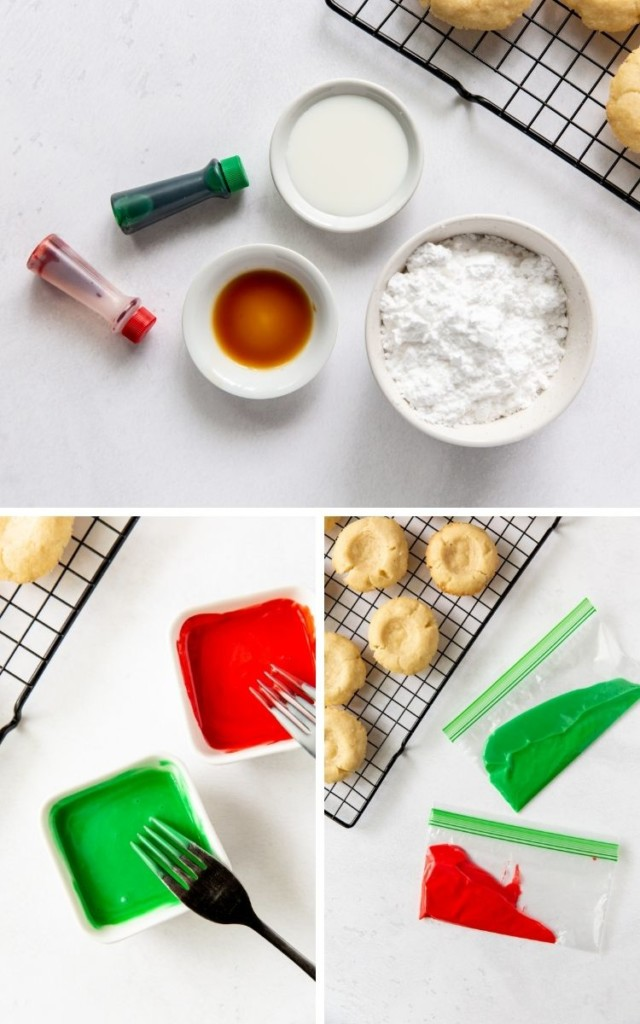 Collage of mixing green and red icing together and putting them in Ziploc bags