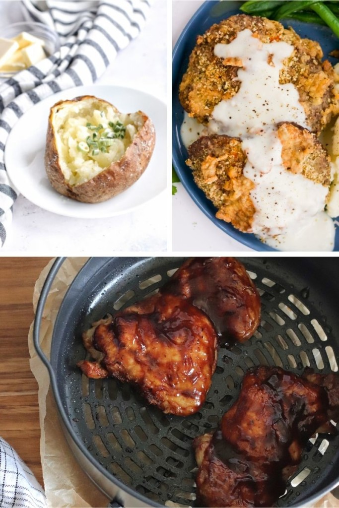 Collage of Ninja Air Fryer Recipes (baked potatoes, chicken fried steak, and BBQ chicken thighs)