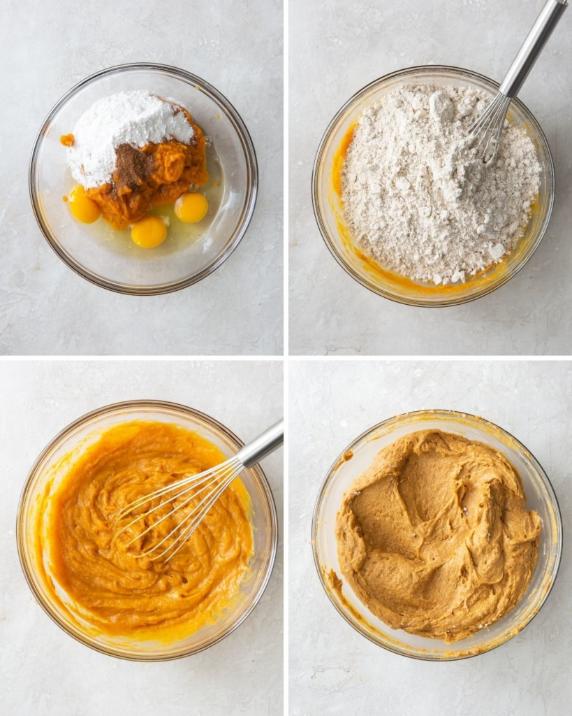 Collage of images of ingredients being added to a bowl and being mixed together with a whisk