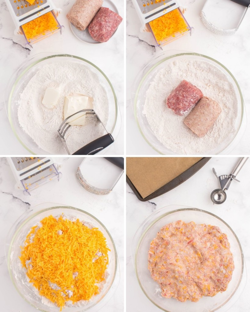Collage of steps to mix all the ingredients into a bowl together