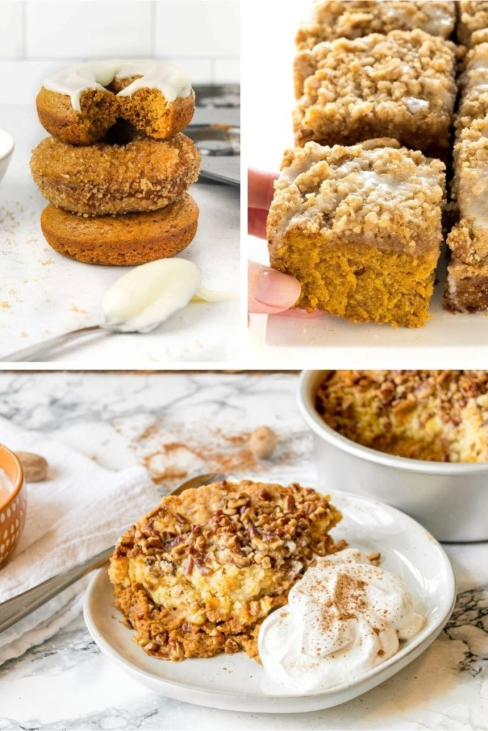 Collage of leftover pumpkin puree recipes (donuts, coffee cake, and dump cake)