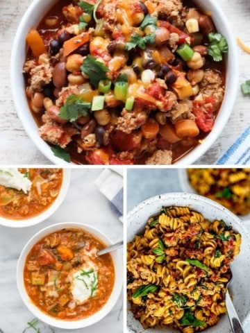 Collage of Instant Pot ground turkey recipes