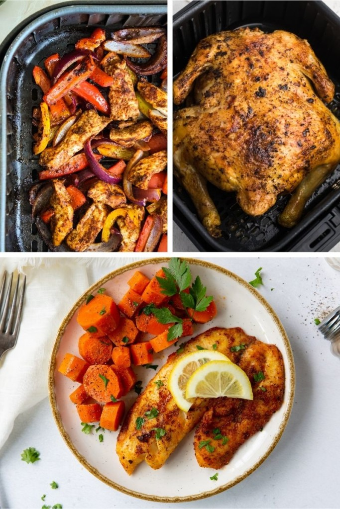 Healthy Air Fryer Recipes collage (chicken fajitas, whole chicken, and tilapia)