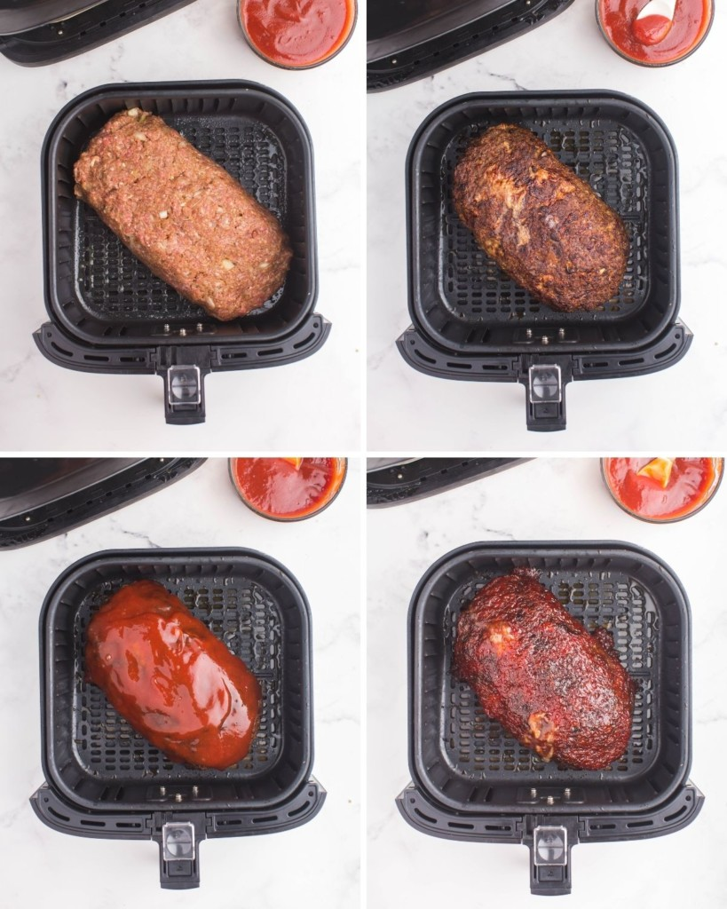 Collage of raw meatloaf in air fryer, coated with sauce, and cooked again