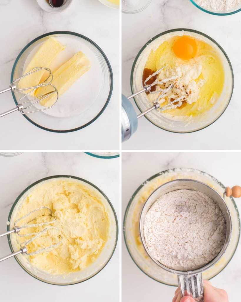 Collage of mixing the butter, wet ingredients, and sifting flour into the dough