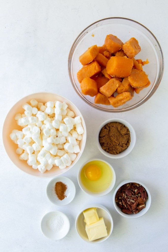Ingredients needed to make this sweet potato casserole in seperate bowls