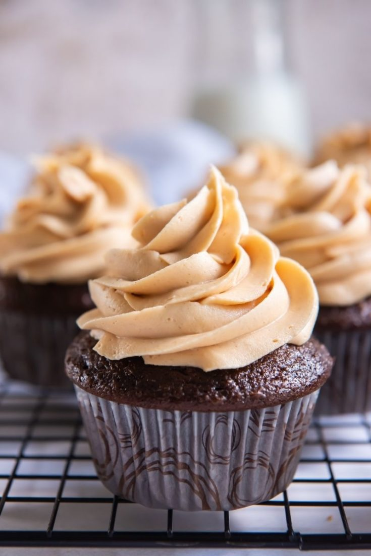3 Ingredient Peanut Butter Frosting on top of a chocolate cupcake piped on