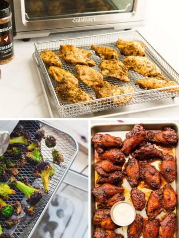 Collage of air fryer oven recipes (chicken, broccoli, and wings)
