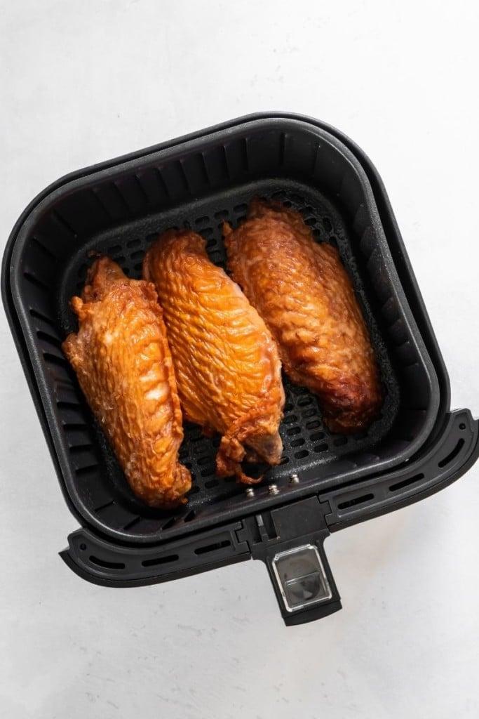 Raw smoked turkey wings in air fryer