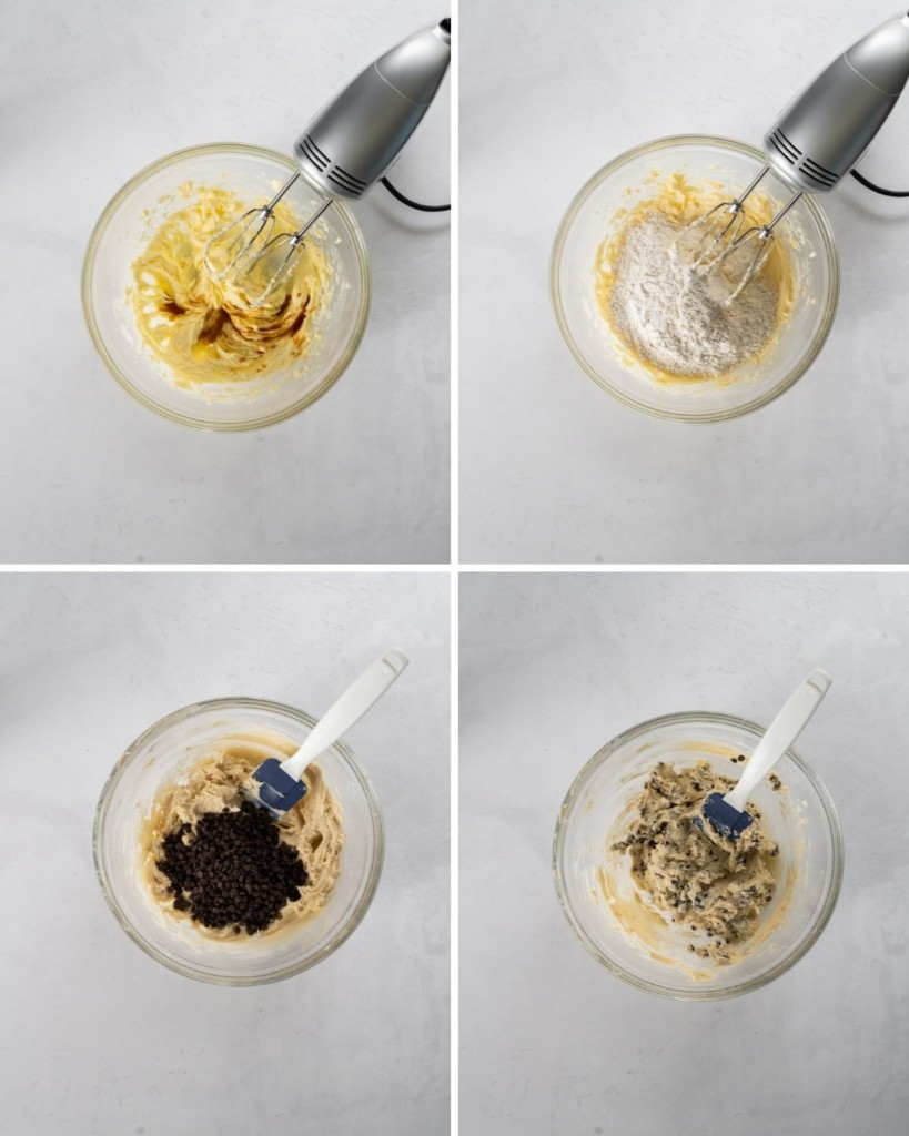In-process collage of photos mixing all ingredients in a bowl