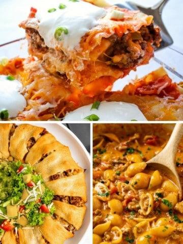 Collage of leftover taco meat recipes (taco lasagna, taco appetizer ring, taco pasta)
