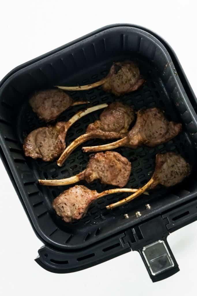 Lamb Chops inside air fryer basket