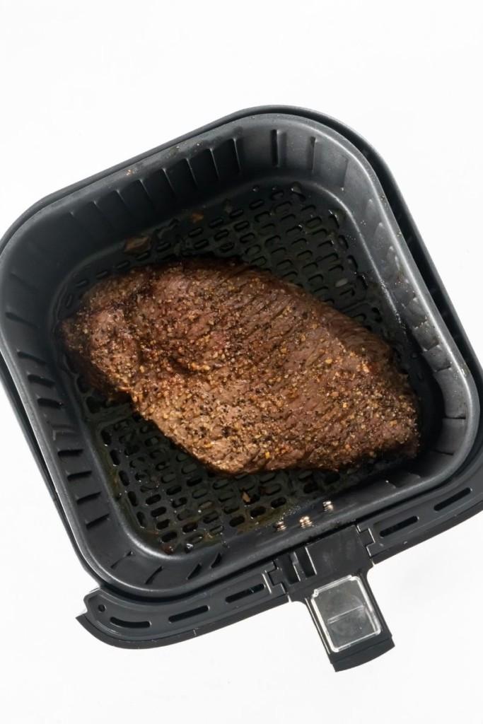 Cooked london broil in air fryer basket