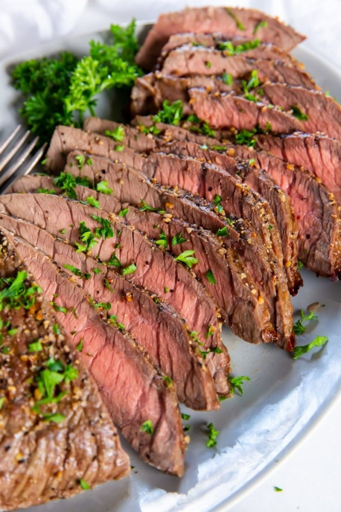 Closeup of sliced London Broil top round sliced