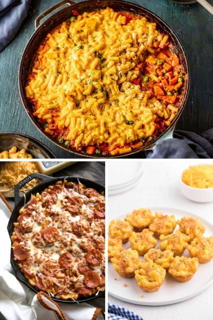 Leftover Mac and Cheese Recipes collage (shepherds pie, pepperoni casserole, mac and cheese bites)