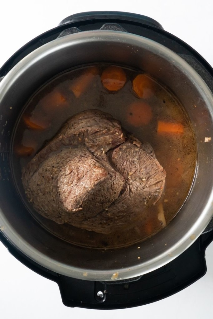 Finished cooked sirloin tip roast in the Instant Pot